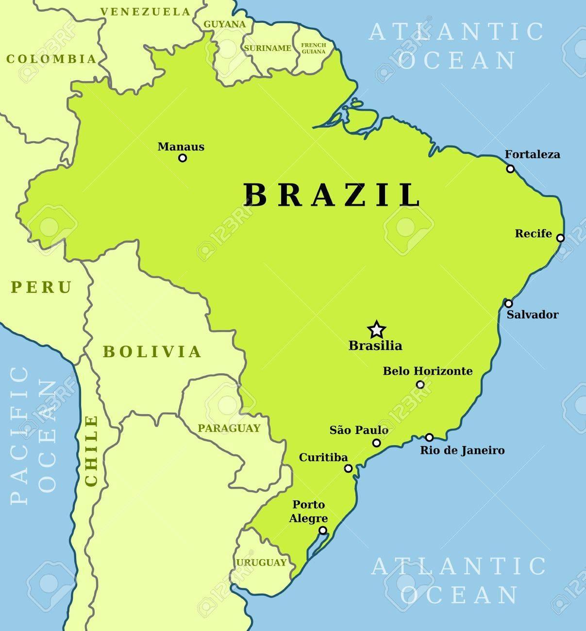 brasil kart Kart over Brasil byer   Brasil kart over byer (Sør Amerika   Amerika) brasil kart