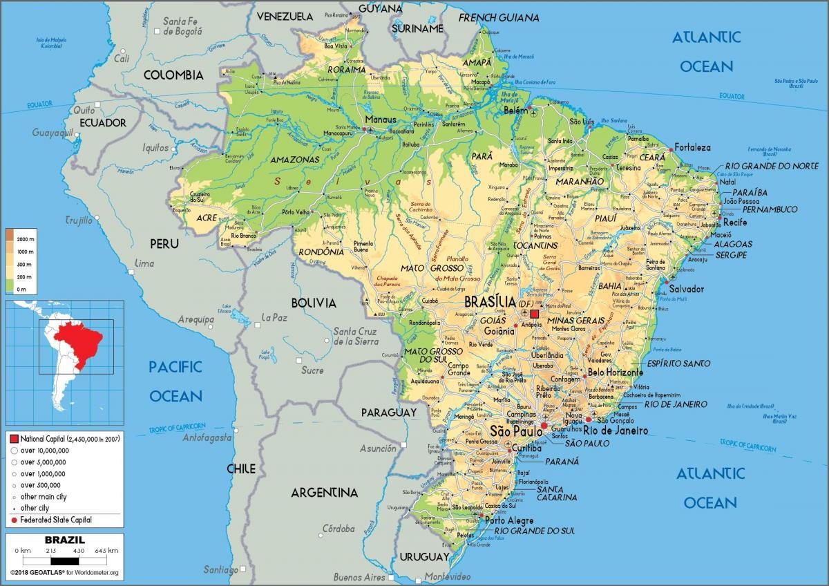 brasil kart Brasil kart   Brasil på kartet (Sør Amerika   Amerika) brasil kart